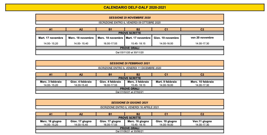 calendario DELF Corsi di francese a venezia