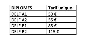Tariffe DELF SCOLAIRE